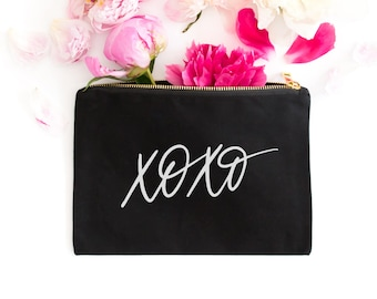 XOXO Makeup Bag - Canvas Make Up Bag - Cute Cosmetic Bag - Valentine's Day Gift for Her - XOXO Gift - Black Bag - Organizer - Travel Bag