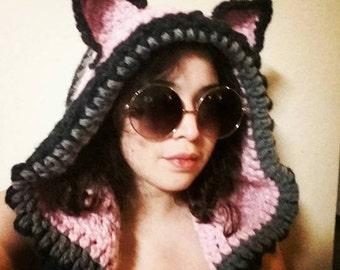 Crochet cat ear hood