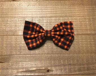 Orange Plaid - Fabric hair bow
