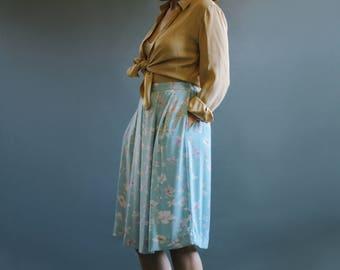 80's Baby Blue Floral Print Skirt with Pockets   Long Skirt   Elastic Waist Skirt   M-L