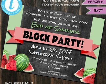 Block Party Invitation End of Summer- Street Party- hoa Party- bbq- Watermelon- Chalkboard- Printable Personalized DIY INSTANT Self-EDITABLE