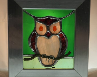 Stained Glass Picture of an Owl