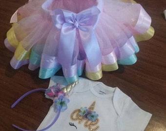 Personalized Birthday Embroidered One Unicorn Shirt/Onesie Tutu Ribbon Trim Pastel colors with Unicorn Headband
