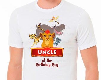 lion guard shirt, Lion Guard Uncle Shirt, birthday party  shirt, personalized disney shirt, lion guard iron on, lion guard theme