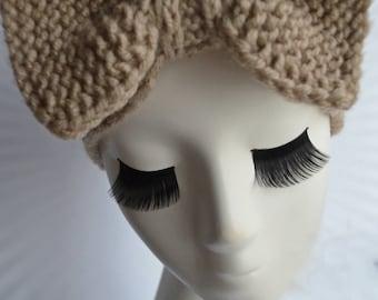Hand Knit Headband/Beige Autumn-Spring Headband/Knitted Bow Headband/Woman Wool Turban