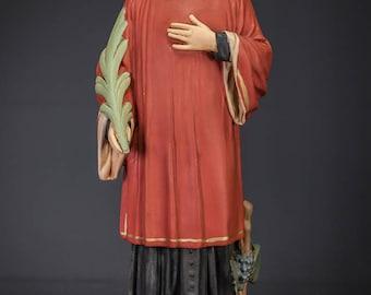 "17"" RARE Saint Vincent of Saragossa Polychromed Plaster Statue Vintage St Martyr Figure"