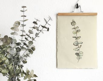 Eucalyptus watercolor painting botanical print