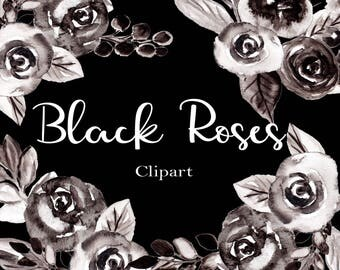 Watercolor Flowers Clipart Black and White Roses Clip Art Watercolor Clip Art Watercolor Floral Clipart Black Flowers Black Rose Clipart