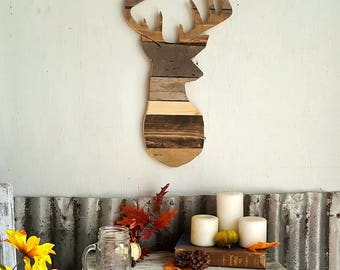 Wall Hanging Reclaimed Wood Buck Head Wood Sign. Pallet Wood. Deer Head. Rustic. Distressed. Hunter. Outdoor. Nature.
