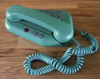 Unique Retro Wedge-Shaped Telephone in Teal Green, Made by Teleconcepts International Inc. in the 1980's