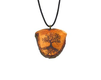 "Soul slices ""Tree of life 1"" wood necklace vintage * Ethno * hippie * MUST have * statement *"