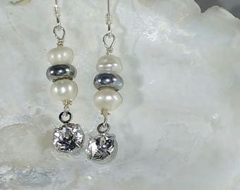 Genuine Pearl and Swarovski Crystal Earrings
