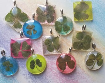 One genuine four leaf clover necklace pendent