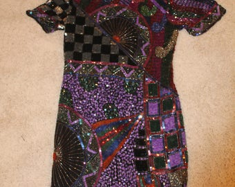 Sweelo Vintage Beaded and Sequin Retro Dress