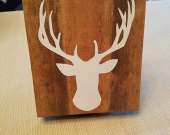 Wooden stained sign with White Vinyl Deer