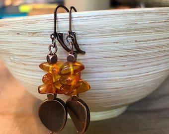 Handmade Copper Earrings   Amber Earrings   Copper Drop Earrings   Boho Earrings   Dangle Earrings   Hippie Chic Earrings