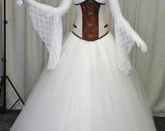 Steampunk wedding dress, Gothic wedding dress, Victorian corset, prom dress, wedding dress, waist reducing corset, steampunk ballgown
