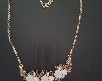 Gold Bib Necklace with Pink and Mint Flowers, Bib Necklace, Flower Necklace, Gold Necklace