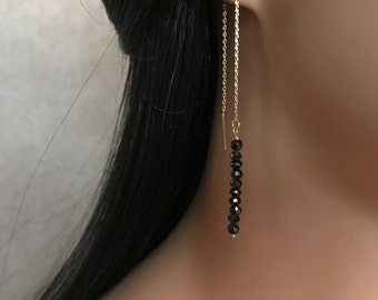 Gemstone Bar Earrings Gold Chain Earrings Tiny Crystal Earrings Threader Gemstone Earring Crystal Jewelry Black Spinel Earrings Minimal Bar