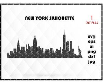 New York City Skyline Silhouette; New York svg, Skyline svg, Big apple svg, New York png, files for Cricut, Files for silhouette, city svg