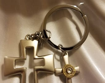 Cross bling keychain with 380 recycled casing