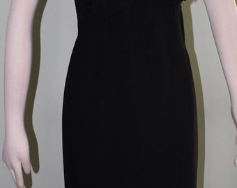 "Medium, Black crepe and lace dress with illusion neckline, vintage 1950's, 34"" waist"