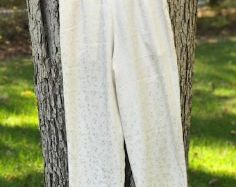 lightweight ivory pajama or high waist modern flowy pant