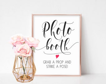 Photo Booth Sign, Wedding Photobooth Sign, Photo station sign, Printable Wedding Signs, Reception Sign, Photobooth Props, Wedding Signage