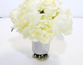 White Rose and Peony Floral Arrangement