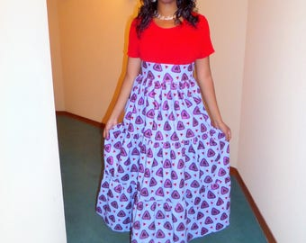 Long peasant skirt in wax (Ankara)