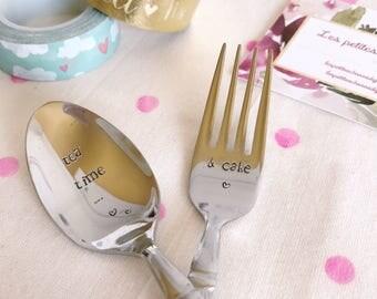 """Set dessert fork and Dessert spoon engraved """"vet & cake"""" for moms, grandmas, friends..."""