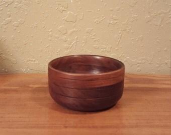 Small round vintage wood bowl.  Retro wooden trinket bowl.