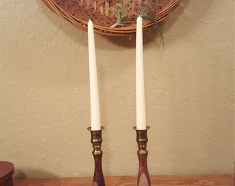 Vintage brass and wood candlestick set.   Pair of large boho, eclectic candlesticks.