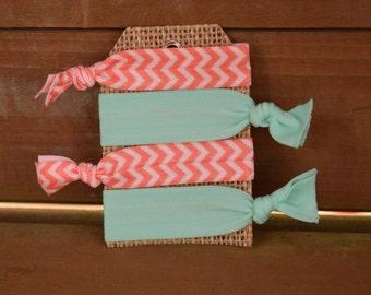 Set of 4 Elastic hair ties/ foe hair ties/ ponytail holders/ fold over elastic/ orange/blue/chevron