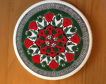 Greek Ceramic Coaster Set Mandala Coaster Set Knossos Ltd Katsidoniotis Bros. - 1960's