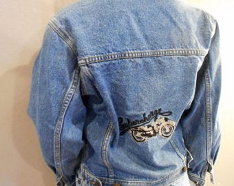 Vintage Jean Jacket Size small extra small womens Embroidered 1970s