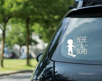 "Sticker "" Bébé à bord "" skateboarding, skater boy, vinyl on decal paper, car decal, kid on skateboard"