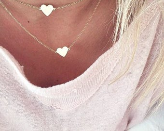 Hand-made Gold Heart Necklace/Gold Necklace Available in 14k Gold, White Gold or Rose Gold