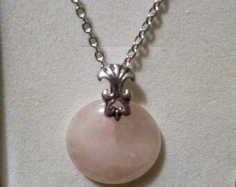 "16"" Rose Quartz and Sterling Silver Necklace"