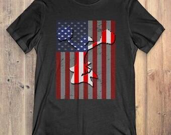Cheerleading T-Shirt Gift: American Flag