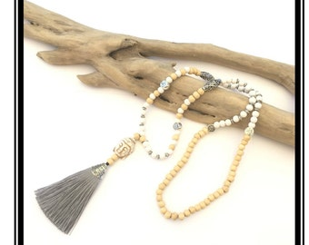 Buddha & gray tassel necklace / boho necklace Natural zen stone wood pink silver glass beads tassel buddha om