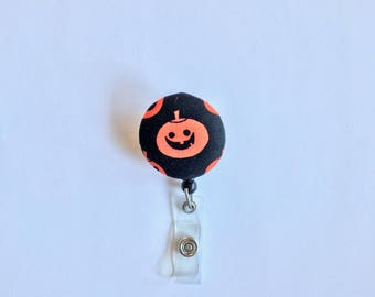 Black/Orange Halloween Pumpkin Badge Reel