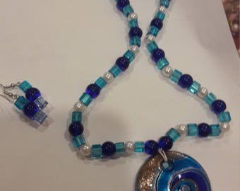 handmade blown glass necklace and earrings