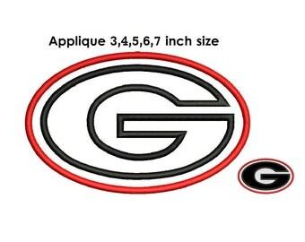 Georgia Bulldogs Applique Design - 3,4,5,6,7 inch size instant download