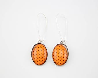 Orange earrings with Brown dots #1199