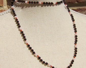 Onyx-Moonstone-Coral Wrap Necklace - Genuine Gemstones & Pure Silk Thread - Sport Collection - Sporty Jewelry - Sporty Colors