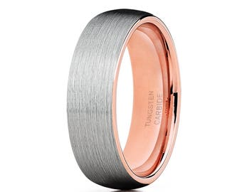 Rose Gold Tungsten Wedding Band Silver Tungsten Ring Men & Women Tungsten Carbide Ring Anniversary Ring Brush