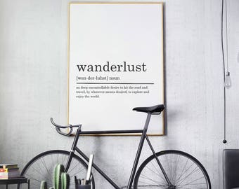 Wanderlust Definition Print, Wanderlust print, Wanderlust printable art, Printable Poster, Wanderlust poster, DIGITAL DOWNLOAD, Typography