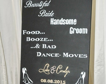 Bride & Groom Welcome Sign for Wedding Party - Blackboard style canvas Handmade Personalised