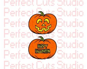2 for 1 Jack O Lantern Happy Halloween SVG and Studio 3 Cut File Pumpkin for Silhouette Cricut Brother Files Happy Cutouts Downloads SVGs